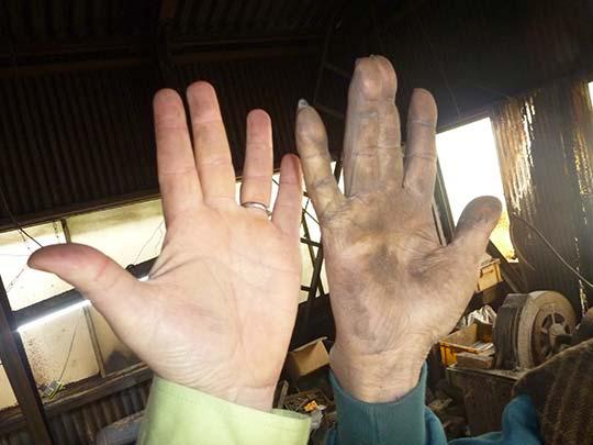 僕も結構自分の手がゴツイと思ったけどおじいちゃんに負けた!